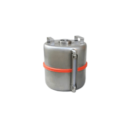 Veiligheidsvat RVS met 2'' aansluiting (centraal) en peilglas 10 liter