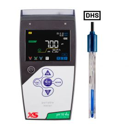 XS INSTRUMENTS pH 70 Vio DHS complete set inclusief pH-elektrode 201T DHS plastic behuizing met temperatuursensor aan de binnenkant en BNC / Cinch-connector, gekleurde pH-buffer, voeding, software PC-Link om gegevens te downloaden, draagtas en accessoires