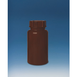 Fles kunststof (ZPE) bruin wijdmonds 1 liter met schroefdop