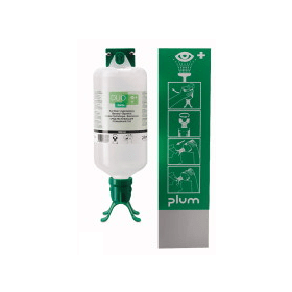 Wand-oogspoelstation met 1 fles 1 liter (zoutoplossing) met duo-opzet voor spoelen beide ogen