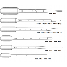 Pasteurpipet kunststof (ZPE) 3,4 ml gegradueerd 1 ml PER 20 STUKS STERIEL lengte 155 mm (500 stuks)